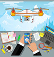drone control via phone quadcopter aerial with vector image