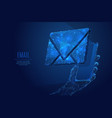 email on smartphone low poly blue vector image vector image