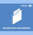 folder with documents icon isometric template vector image