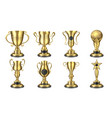 golden awards realistic trophy cup contest prize vector image vector image