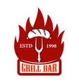 grill bar fork with sausage and fire design vector image vector image