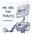 hand draw robot on exersize book Eps10 vector image vector image