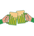 hands holding green beer mug foam vector image