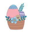 happy easter day basket with eggs flowers leaves vector image