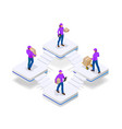 isometric concept of delivery man and woman in vector image