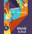 jazz festival live music retro poster with musical vector image vector image