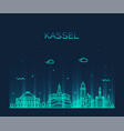 kassel skyline northern hesse germany line vector image
