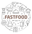 line flat circle fastfood vector image vector image