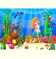 little mermaid among inhabitants the vector image vector image