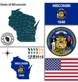 map wisconsin with seal vector image