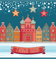 new year colorful greeting card the church houses vector image vector image