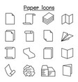 paper document icon set in thin line style vector image vector image