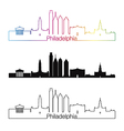 Philadelphia skyline linear style with rainbow vector image