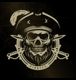 pirate skull in vintage style skeleton head and vector image vector image