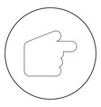 pointer hand icon black color in circle vector image vector image