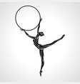 rhythmic gymnastics girl with hoop silhouette vector image vector image