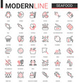 seafood for shop cafe restaurant thin red black vector image