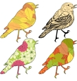 Set of birds with patch silhouettes vector image vector image