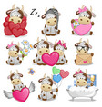 set of cute cartoon cow vector image vector image