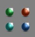 set of realistic glass balls 3d green blue cyan vector image vector image