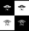 set ufo abducts cow icons isolated on black and vector image vector image