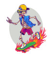 skeleton skateboarder mascot with sign the vector image