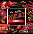 sketch poster for meat house delicatessen vector image vector image