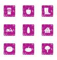 suburban life icons set grunge style vector image