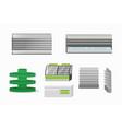 supermarket closeup gray and green empty furniture vector image vector image