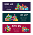 three christmas sale banners with presents gifts vector image