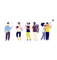 tourists and tour guide young couples family vector image vector image