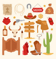 wild west cartoon icons set cowboy rodeo equipment vector image vector image
