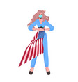 woman in mask holding usa flag labor day vector image vector image
