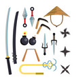 ninja weapons set assassin accessories vector image