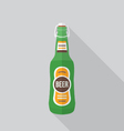 flat style beer bottle icon with shadow vector image