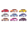 set of economy car in different colors vector image