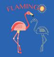 stylish flat design flamingo icon vector image