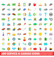100 service and garage icons set cartoon style vector image vector image