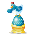 A hen above a big easter egg vector image vector image