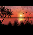 a tropical sunset or sunrise with palm trees vector image vector image