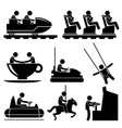 amusement theme park playing stick figure vector image vector image