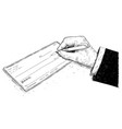 artistic drawing of hand of businessman filling vector image vector image