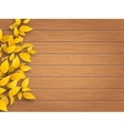 autumn tree branch on weathered wooden background vector image