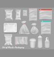big set of polypropylene plastic packaging vector image vector image