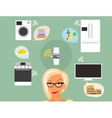 Blond woman thinking about smart gadgets at home vector image vector image