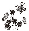 butterflies and flourishes with flowers 2 vector image
