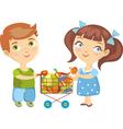 children purchase vegetables vector image vector image