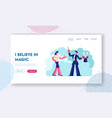 circus magical trick website landing page woman vector image