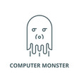 computer monster line icon computer vector image vector image