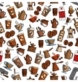 Cups and coffee makers seamless background vector image